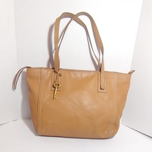 Fossil tan leather tote bag